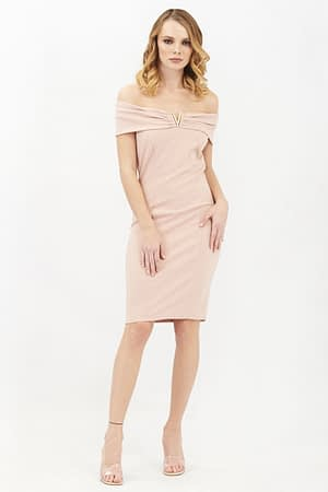 Bardot Pink Midi Dress with Metal Detail