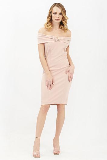 Bardot Pink Midi Dress with Metal Detail