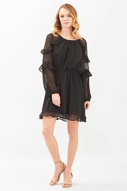 Black Short Long Sleeves Dress