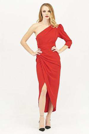 One Shoulder Long Sleeve Midi Dress