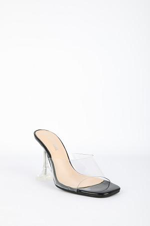 Transparent Mules with Noir Detail