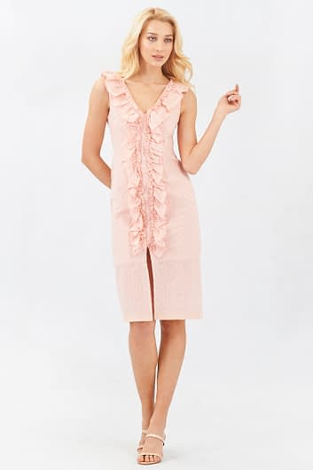 Embroidered and Perforated Split Pink Dress