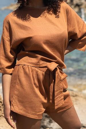 Terracotta Linen Shorts