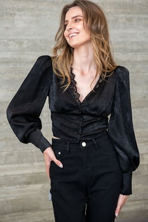 Black Satin Top with Lace Details