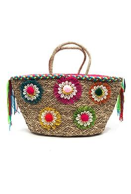 Beige Flower Handmade Beach Bag