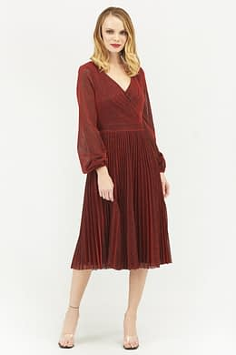 Red Pleated Glitter Midi with Long Sleeves
