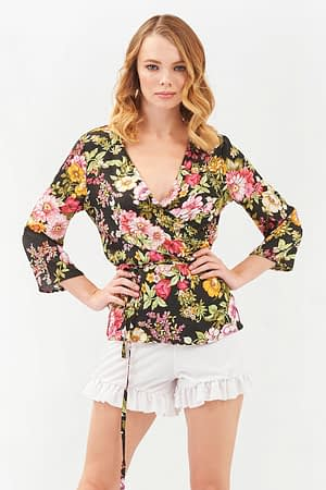 Wrap Printed Blouse