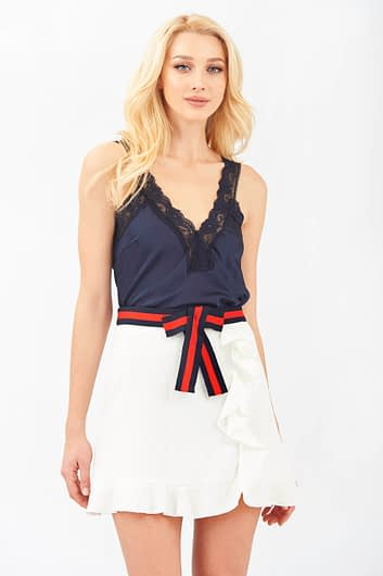 Dark Blue Camisole Top with Lace Details