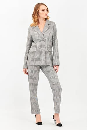 Check Jacket and Pants Suit Set