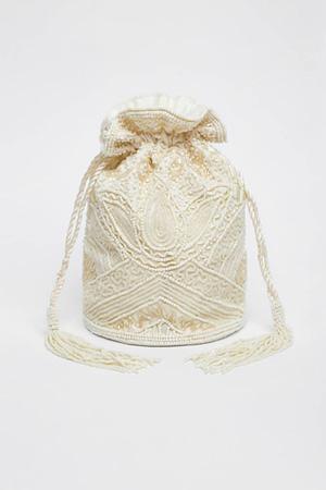 Cream Hand Embellished Bucket Bag