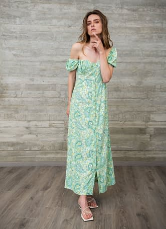 Green Floral Satin Dress with Buttons