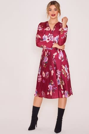 Pleated Satin Long Sleeve Dress