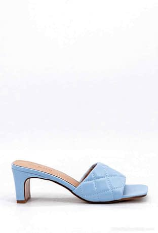 Light Blue Heeled Mules