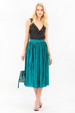 Metallic Green Pleated Skirt