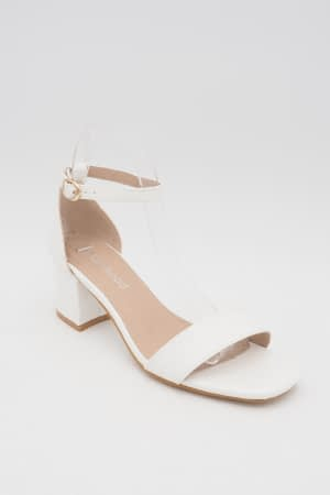 White Croc Mid Heels