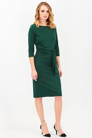 Pencil Green Dress with a Tie Detail