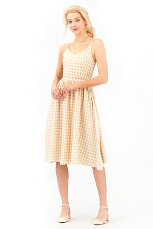 Midi Beige Gingham Dress