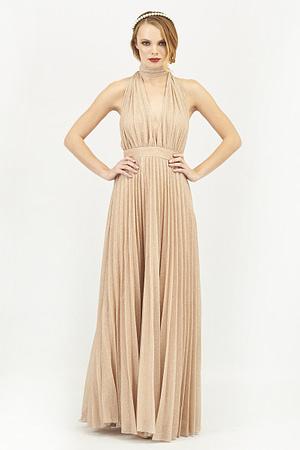 Deep V Neck Lurex Maxi Dress