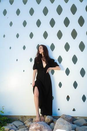 Black Linen Dress with Twist Details