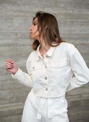 White Denim Crop Jacket