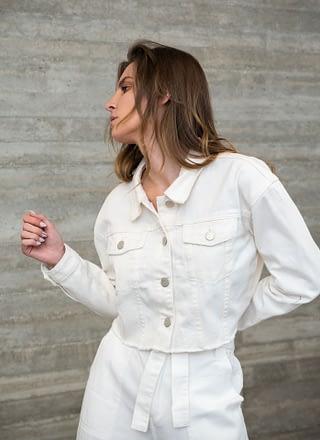 White Denim Crop Jacket