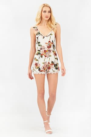 Floral Playsuit with Open Back
