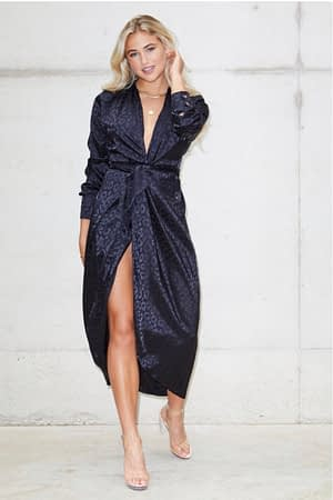 Black Leopard Satin Longsleeve Wrap Dress