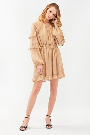 Beige Short Long Sleeves Dress