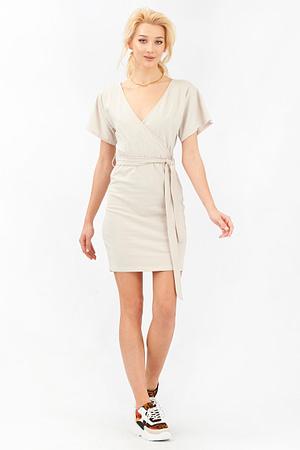 Beige Summer Wrap Dress