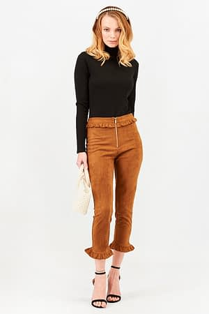 Suede Camel Pant