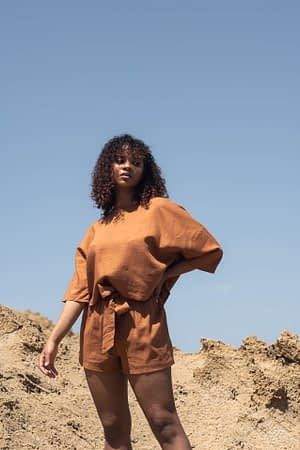 Terracotta linen t-shirt