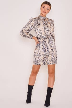 Satin Animal Printed High Neck Dress
