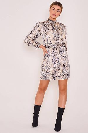 Satin Animal Printed High Neck Dress